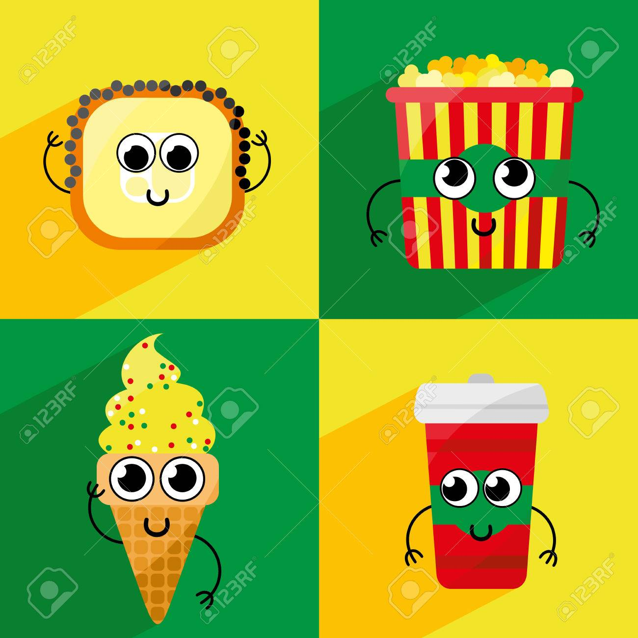 set of cute cartoon fast food characters template for menu of