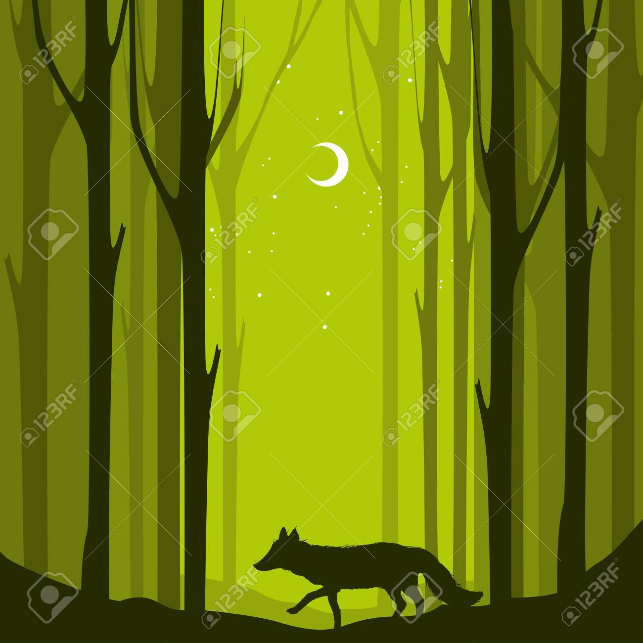 abstract banners of wild fox in forest with trunks of trees vector