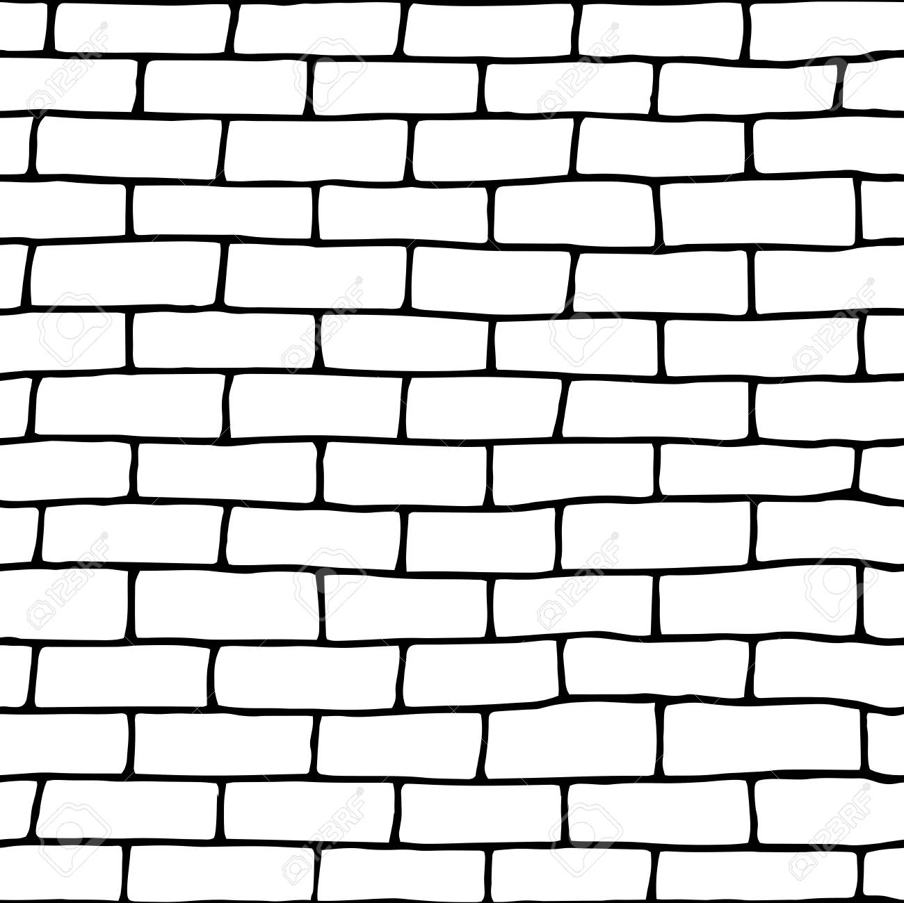 Template Doodle Seamless Brick Wall.Vector Illustration. Eps10 ...