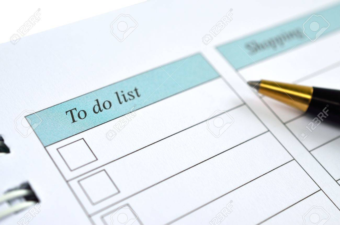 To do list on a notebook representing things to do when organizing a schedule Stock Photo - 15788615
