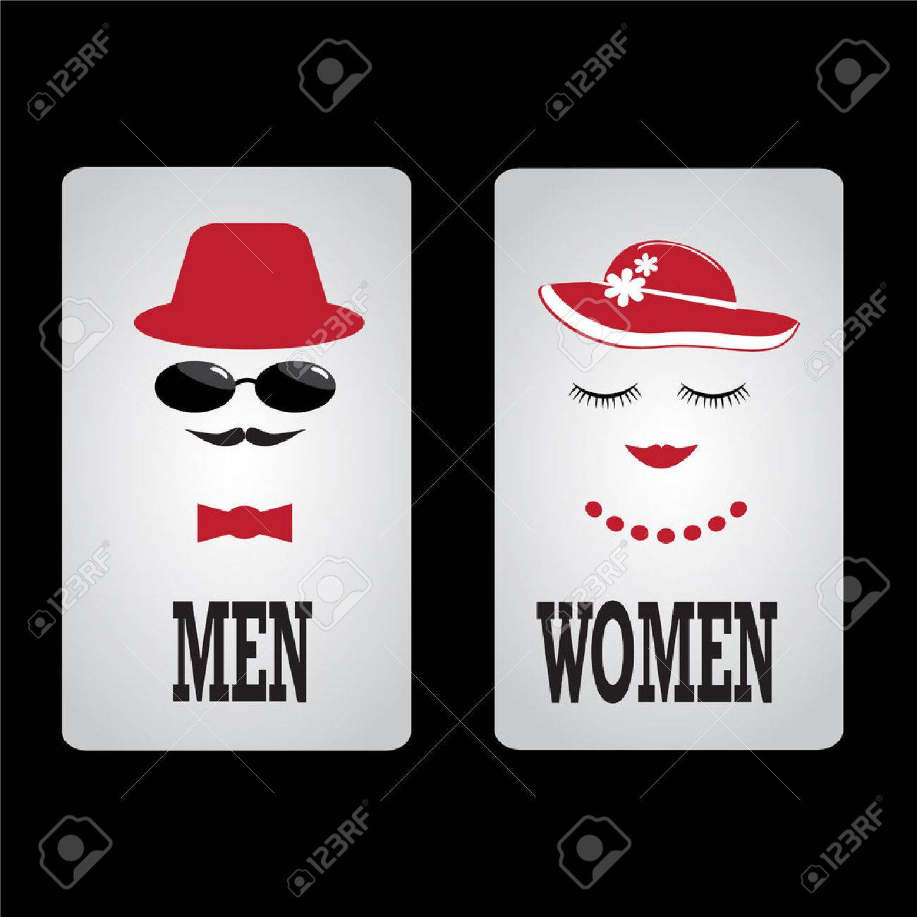 Toilet Sign, Fitting room sign flat icon illustration - 51067771