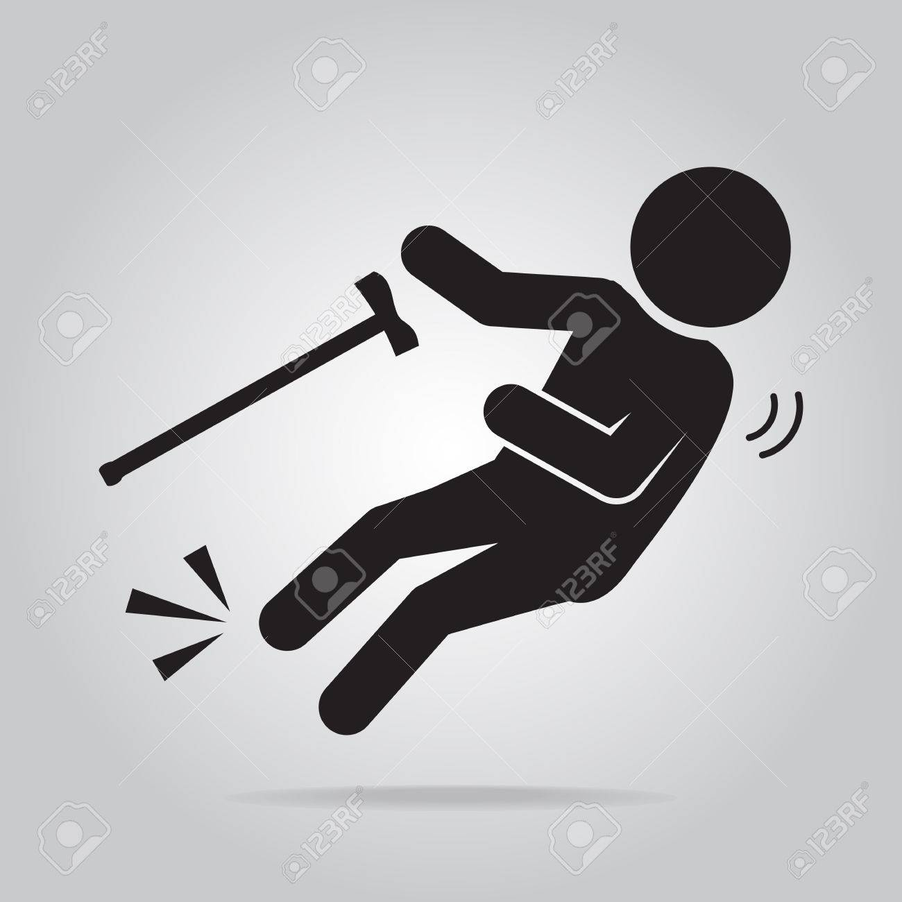 Elderly with stick and slip injury, person injury symbol illustration - 63801024