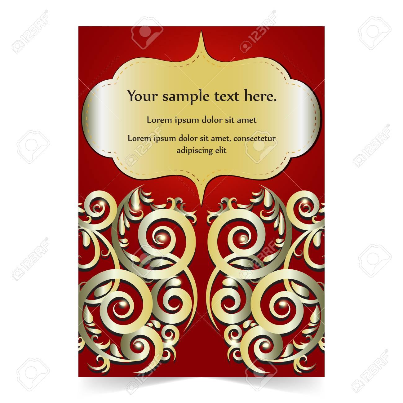 Invitation Card, Greeting Card, Wedding Card With Gold Ornamental ...