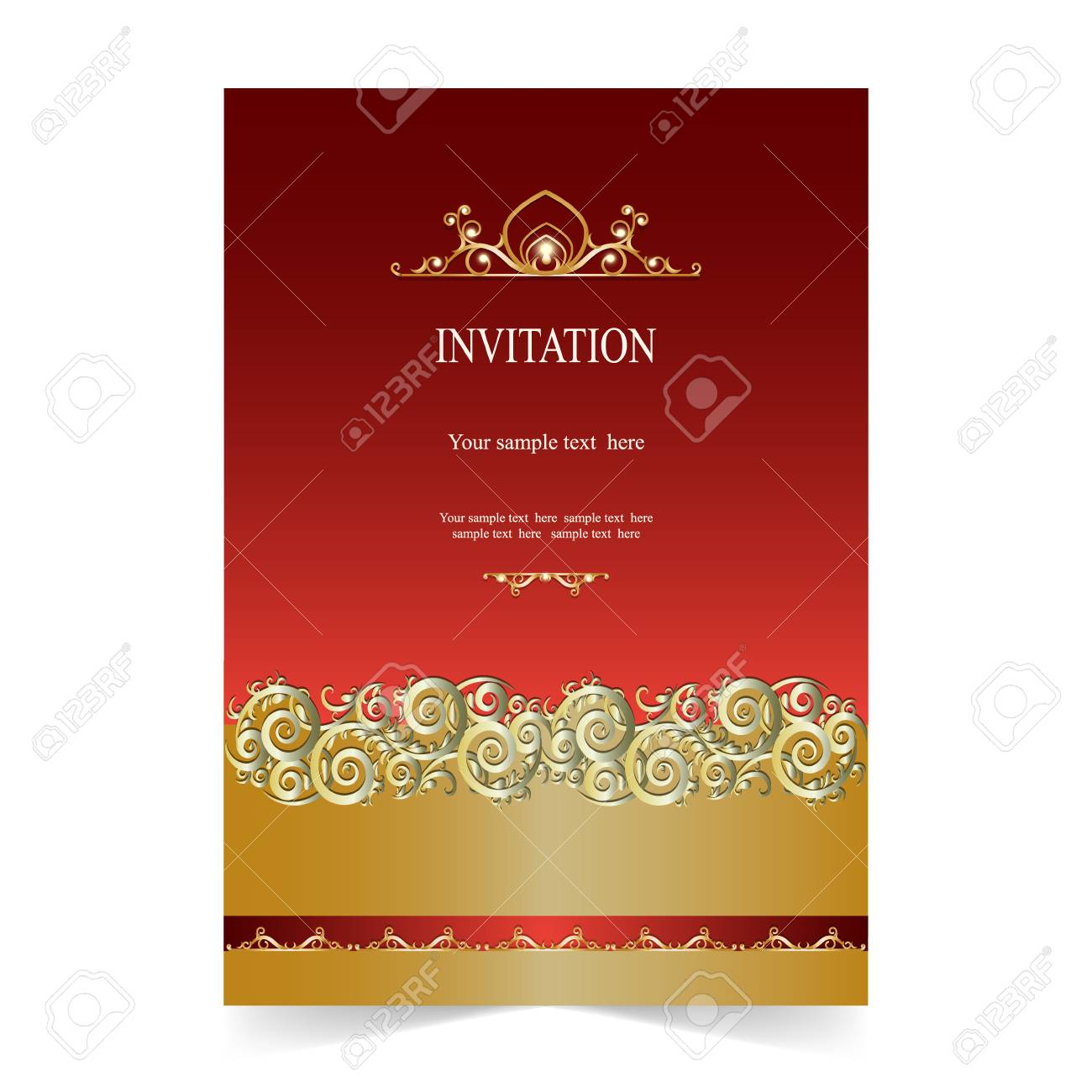 Invitation Card, Wedding Card With Ornamental On Red Background ...