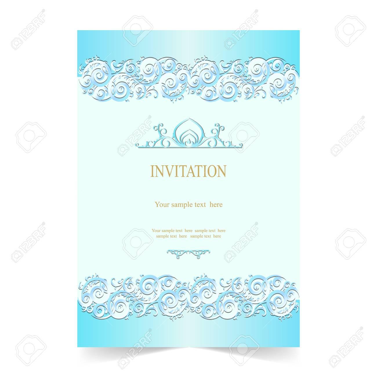 Tarjeta De Invitación Invitación De Boda Con Fondo Azul Suave Ornamental