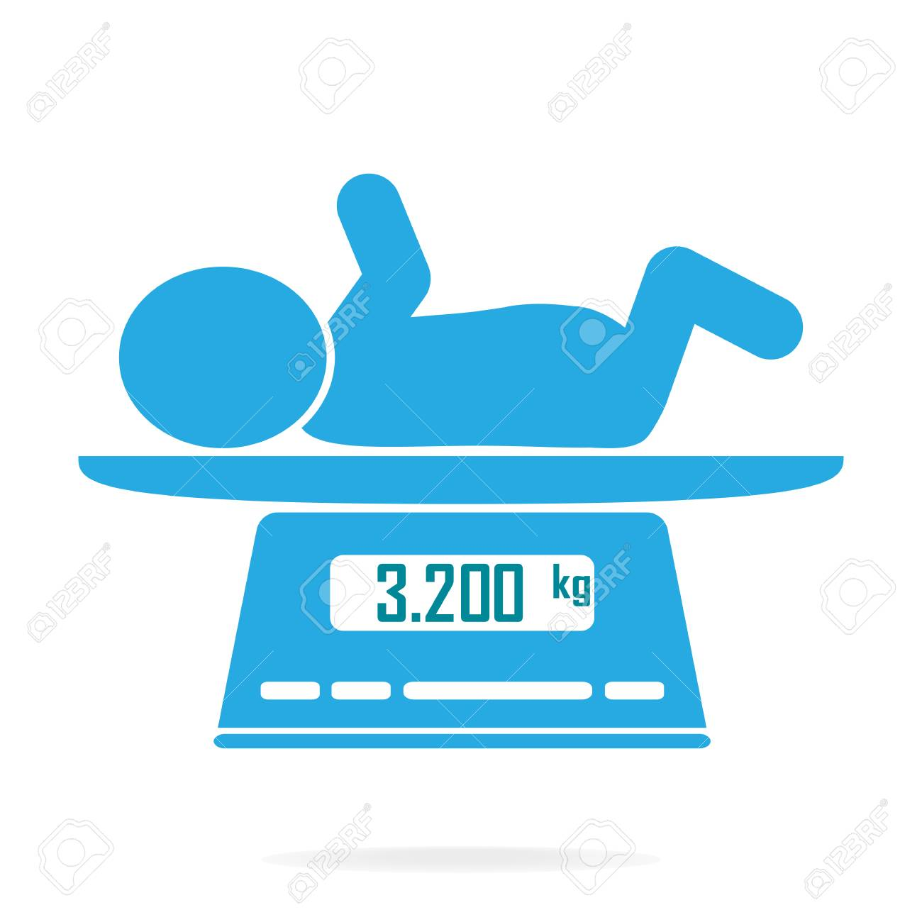 Weight scale for infant icon, Digital scales measure weight in