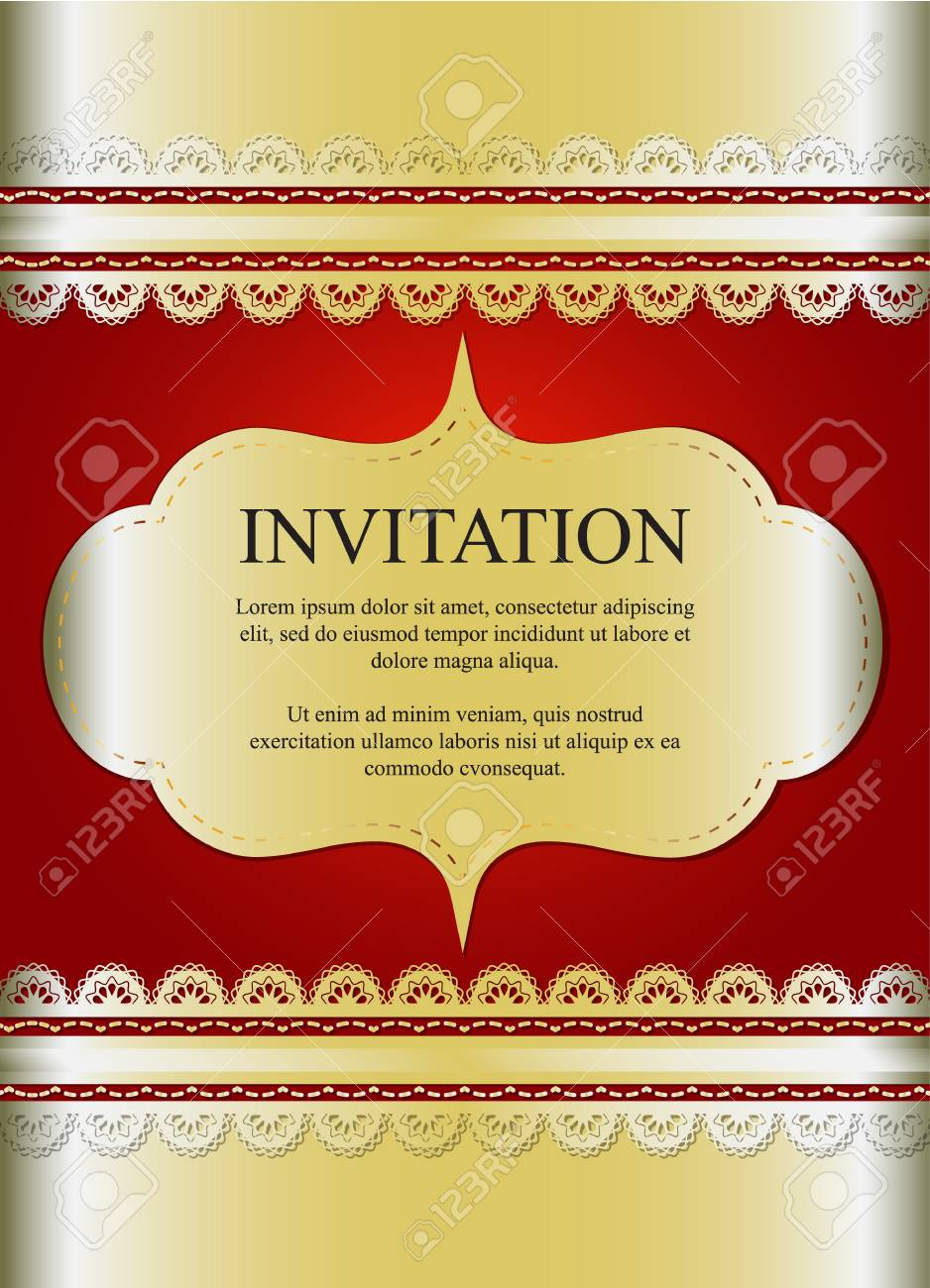 Invitation Card, Wedding Card With Golden Ornamental On Red ...