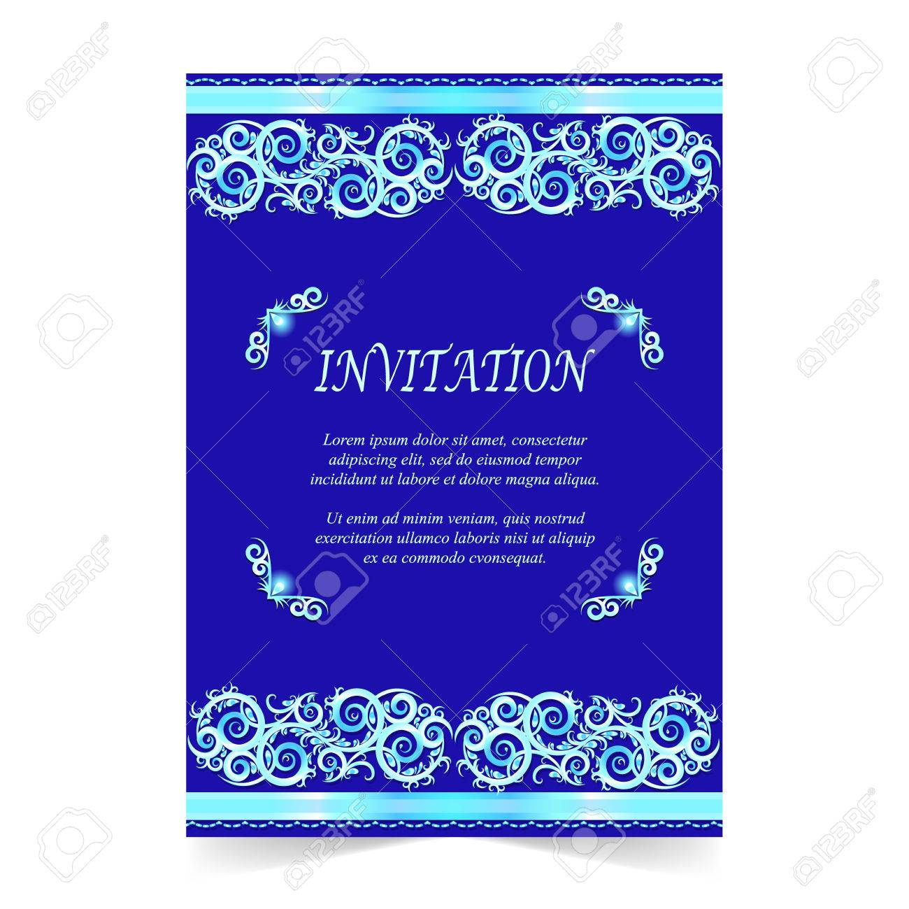 Invitation Card Wedding Card With Ornament On Royal Blue Background