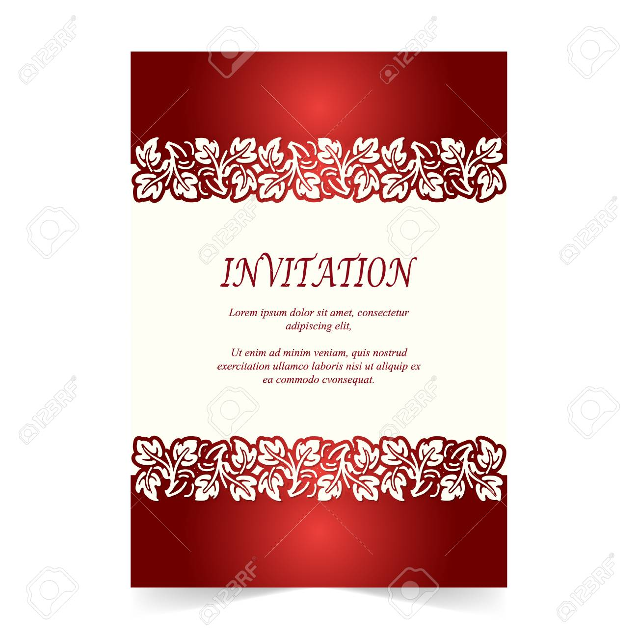 Invitation Card, Wedding Card With Ornament On Ivory And Red ...