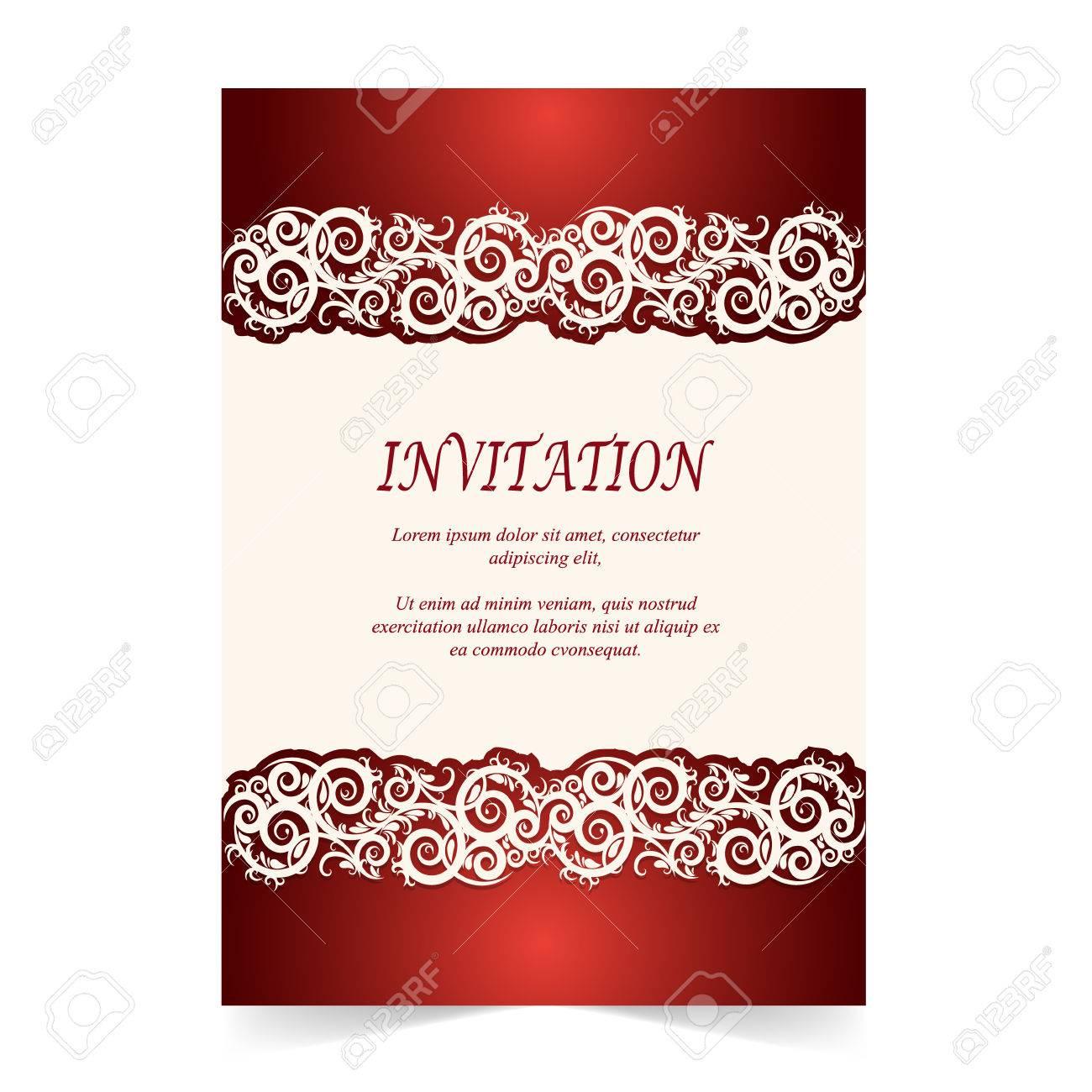Invitation card wedding card with ornament on ivory and red invitation card wedding card with ornament on ivory and red background stock vector 78429391 stopboris Choice Image