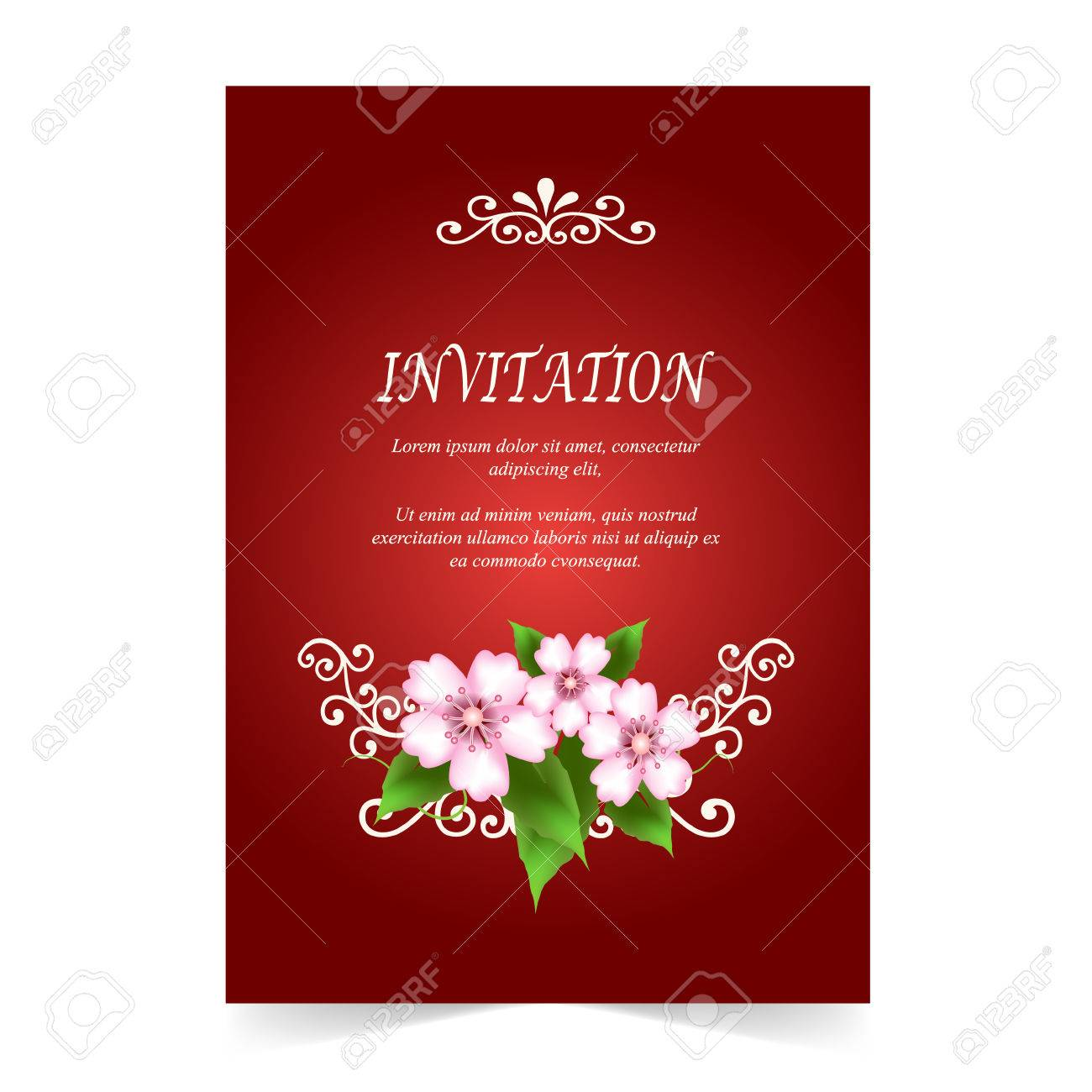 Invitation Card, Wedding Card With Cherry Blossom Flowers On ...