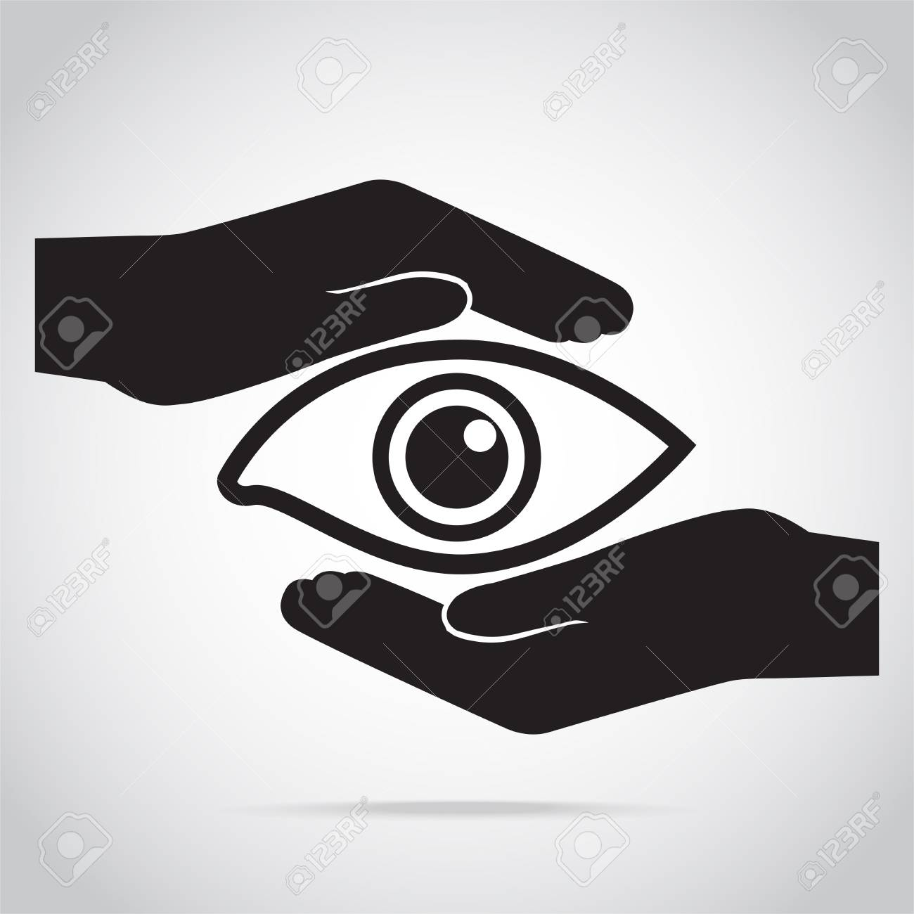 Eye And Hand Icon Eye Care Concept Royalty Free Cliparts Vectors