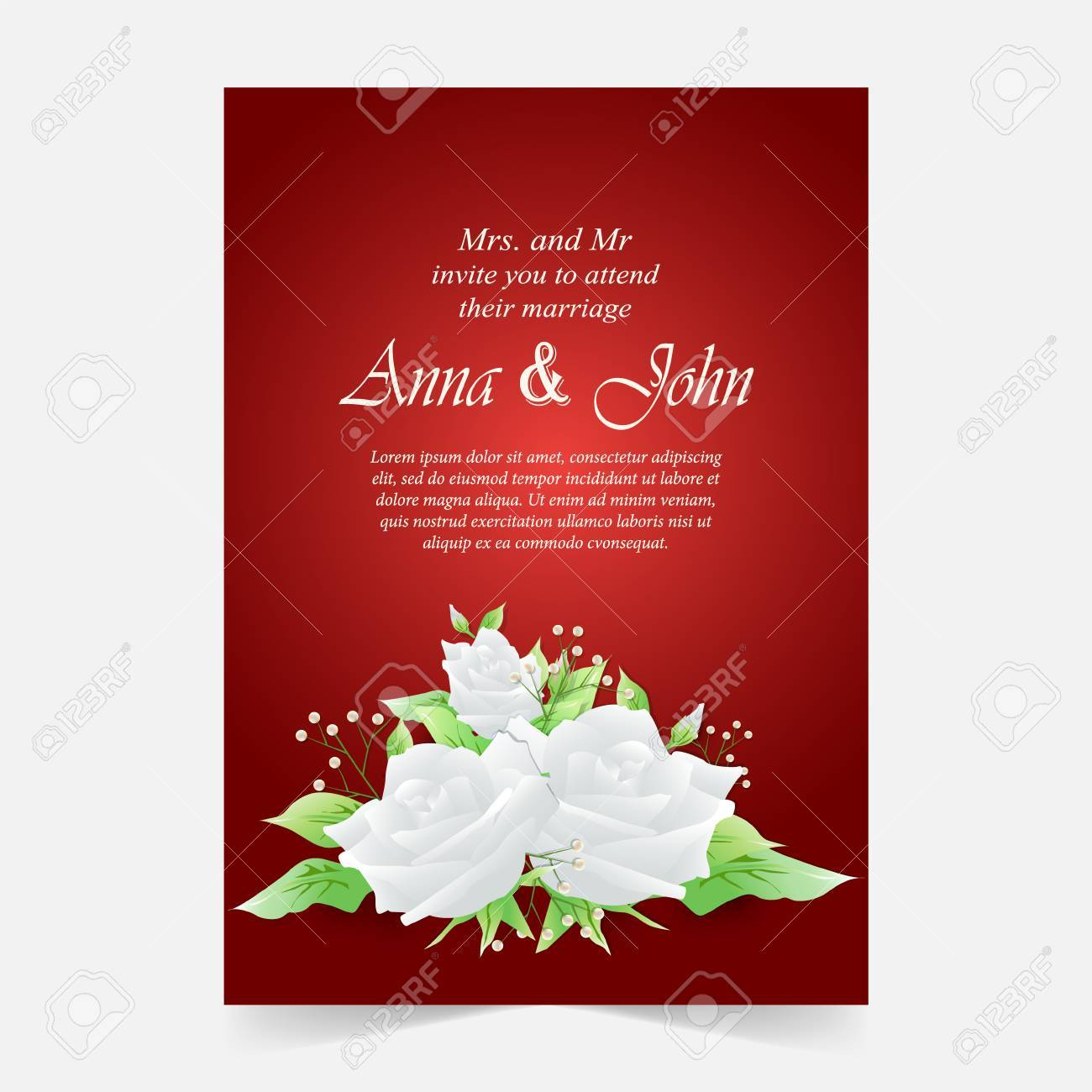 Invitation Card, Wedding Card With White Rose Background Royalty ...