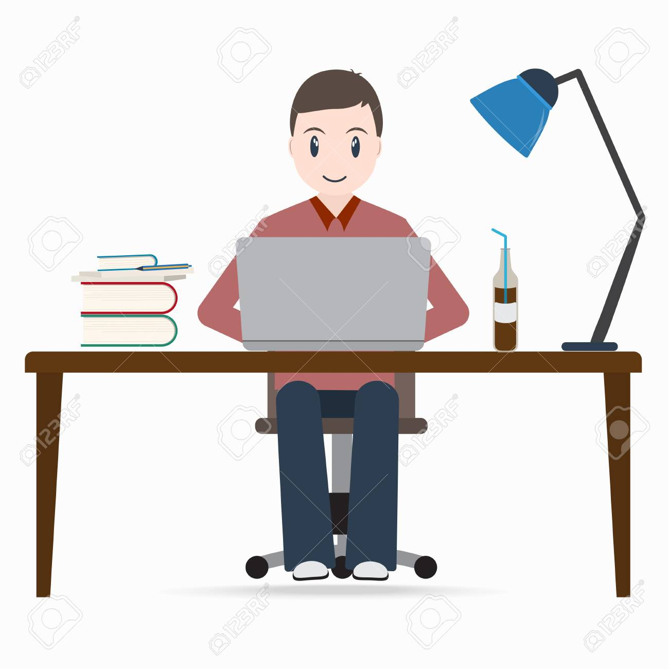 man working on a computer, student sitting front of laptop icon