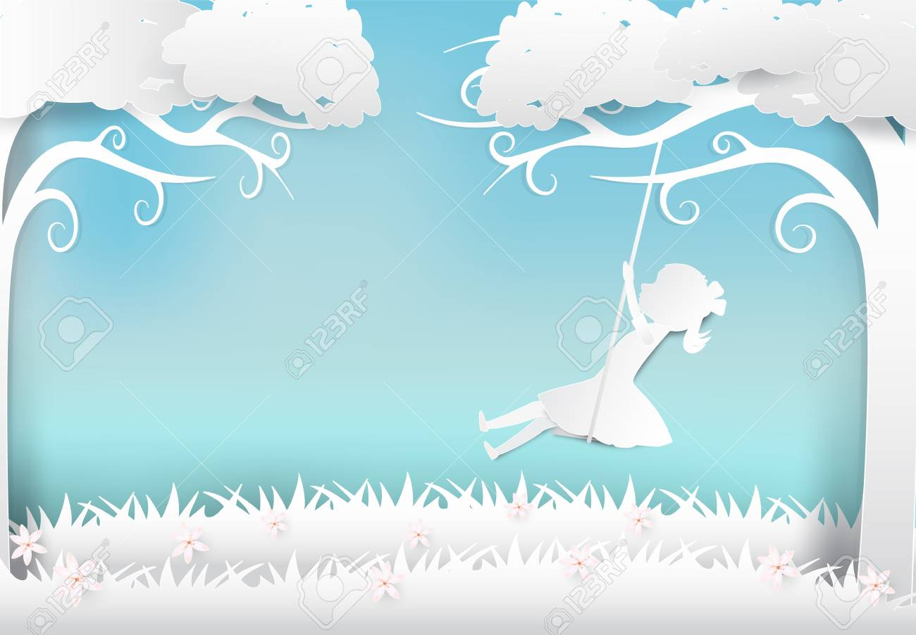 Girl Sitting On Swing Under Tree And Flower Paper Art Paper