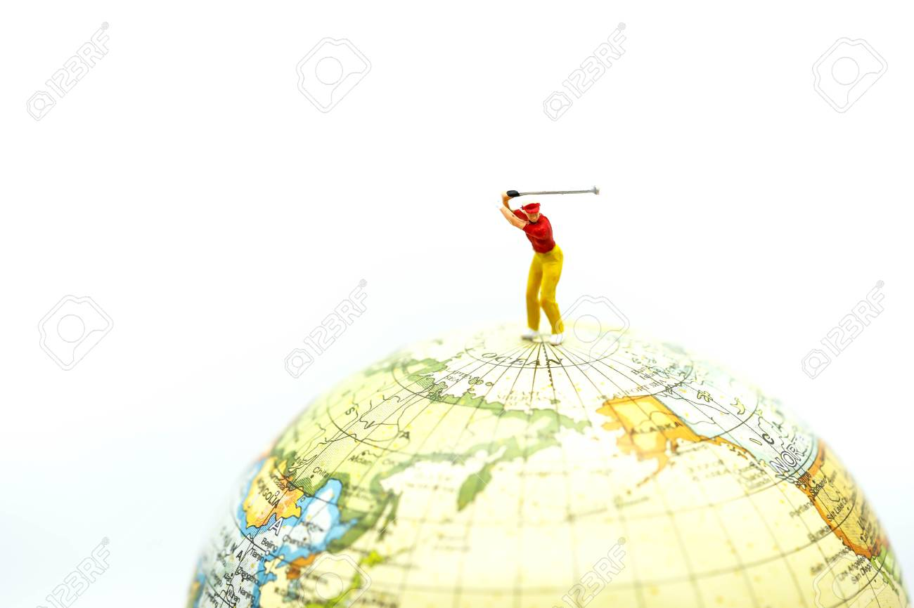 Miniature people golfer stand with world map stock photo picture miniature people golfer stand with world map stock photo 96873921 gumiabroncs Choice Image