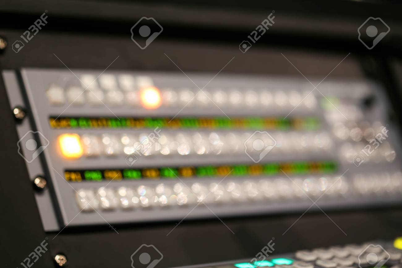 Blur of Equipment for sound mixer control in studio TV station,