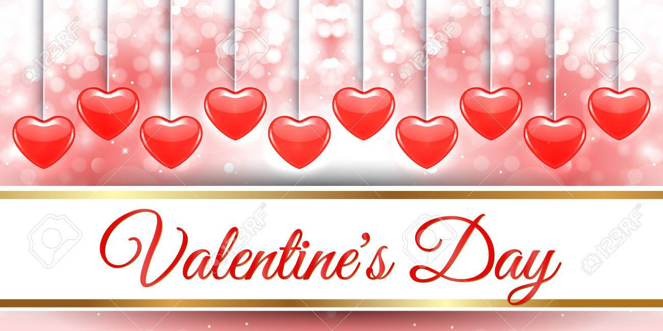 Creative Red Heart Banner Design Valentine Day Royalty Free Cliparts