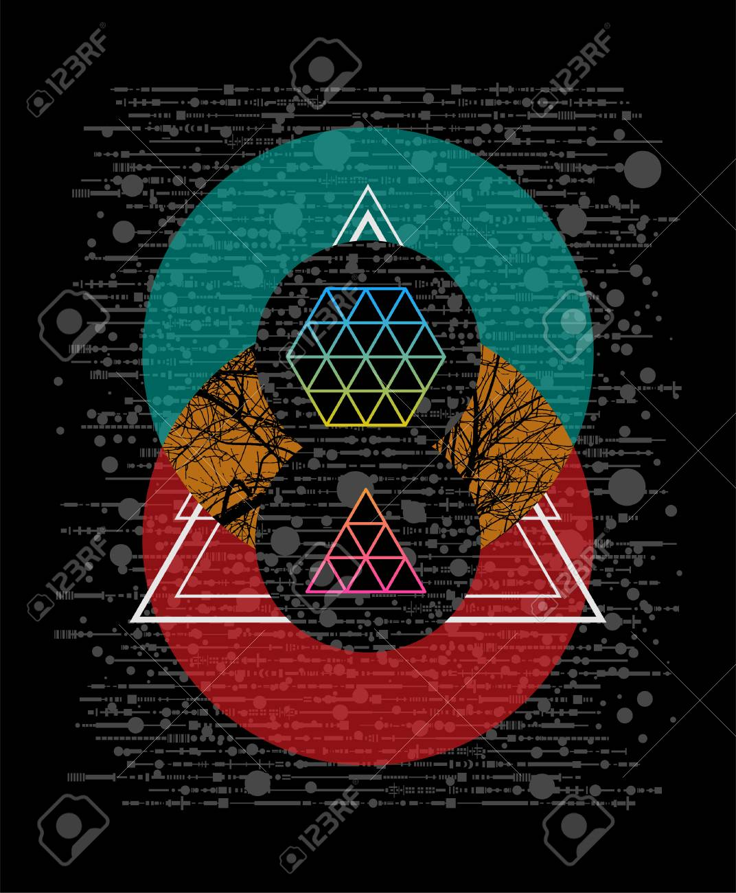 Geometric Circle And Triangle Vector Illustration T Shirt Design