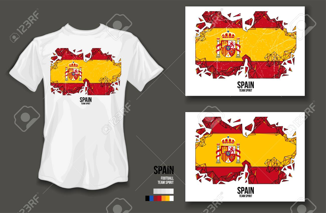T Shirt Design Spain Team Spirit Football Sports Wear On White