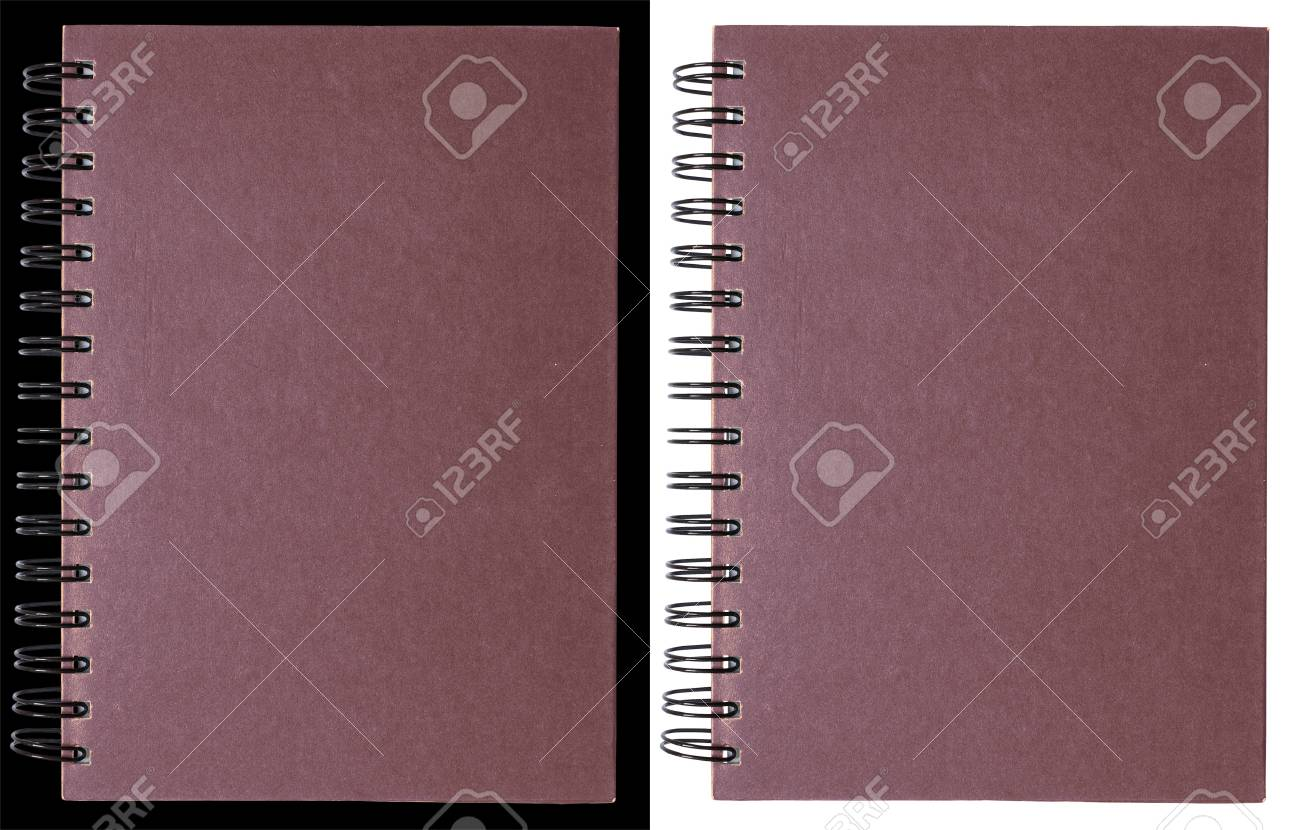 Purple notebook isolated on black and white Stock Photo - 8012585