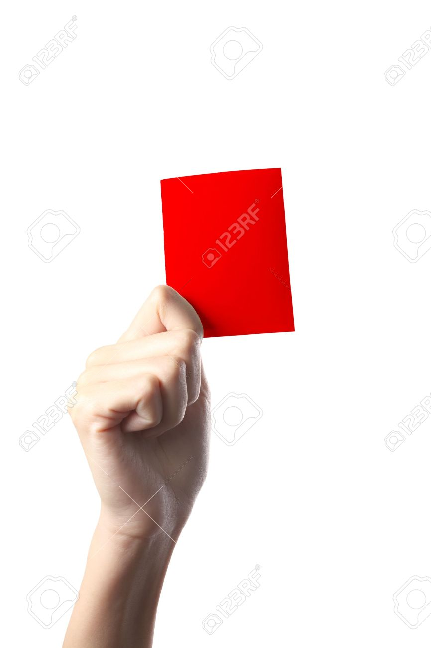 Hand holding a red card isolated on white background Stock Photo - 8893775