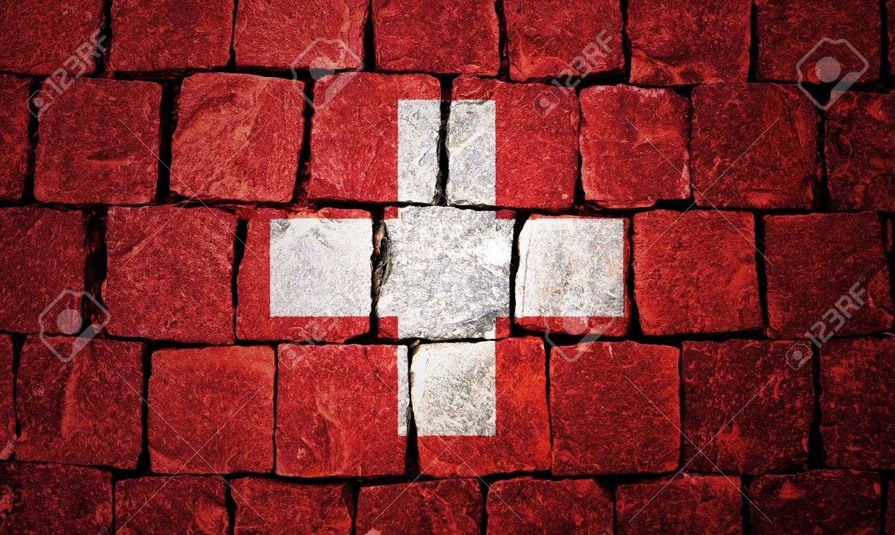 Switzerland flag painted on old wall background Stock Photo - 13984173