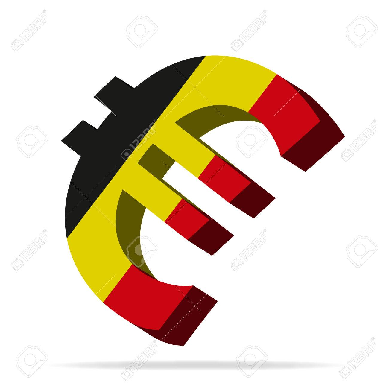 3d Illustration Of The Euro Symbol With Belgium Flag Royalty Free