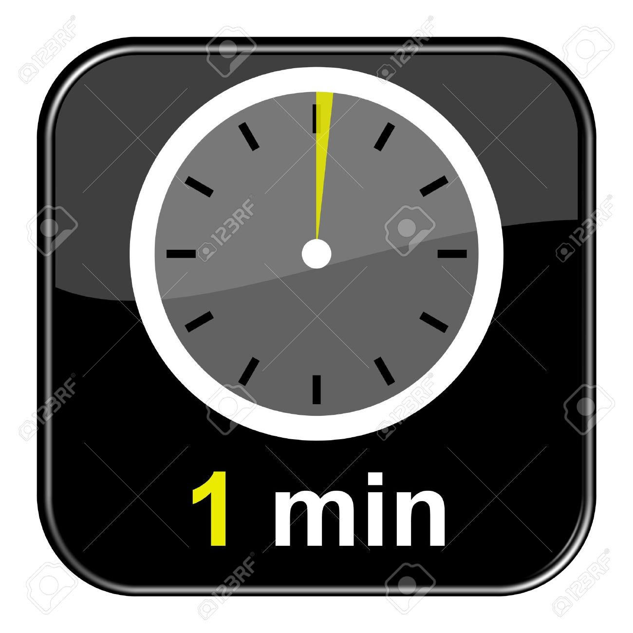 glossy black button 1 minute stock photo picture and royalty free