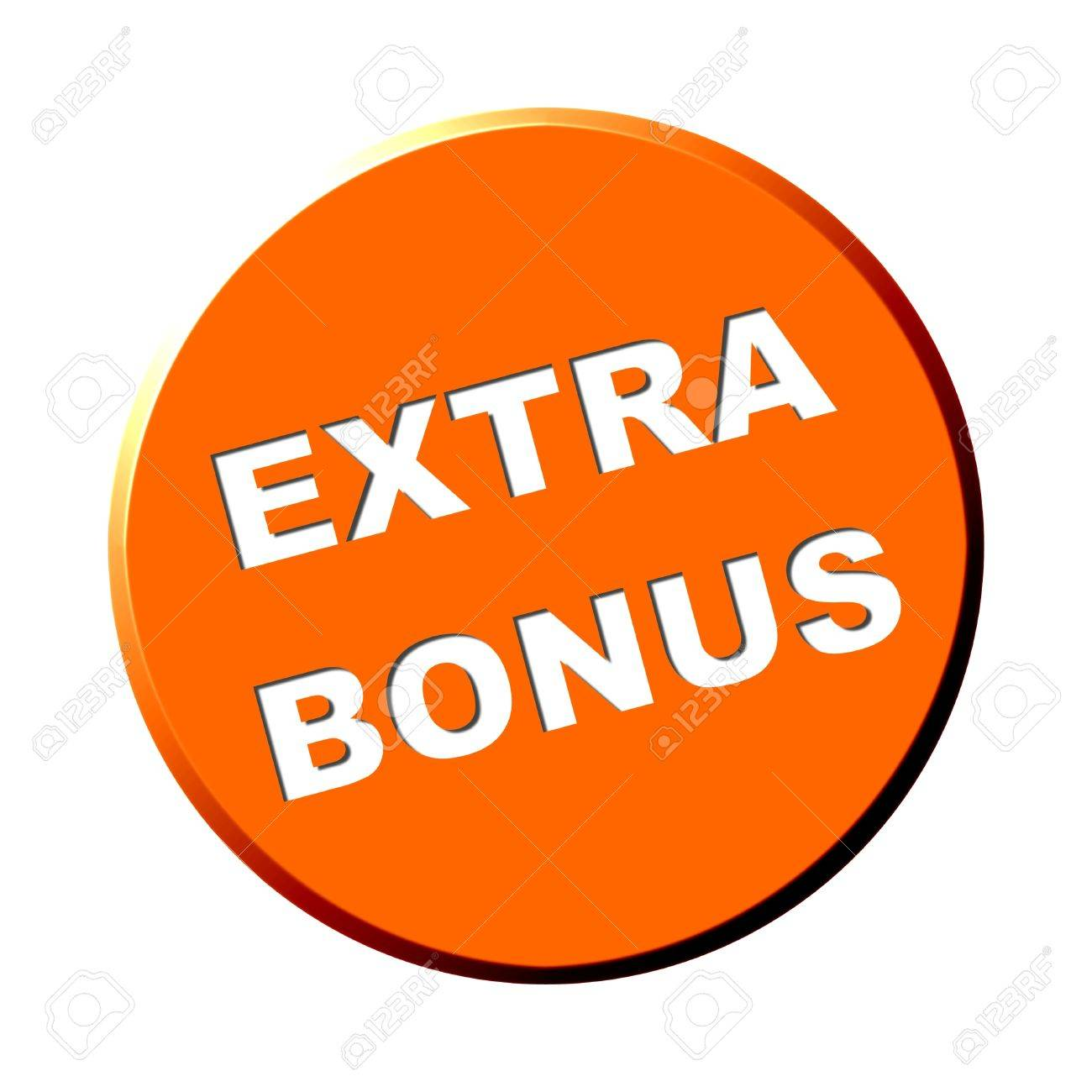 Round orange button - Extra Bonus Stock Photo - 13784549