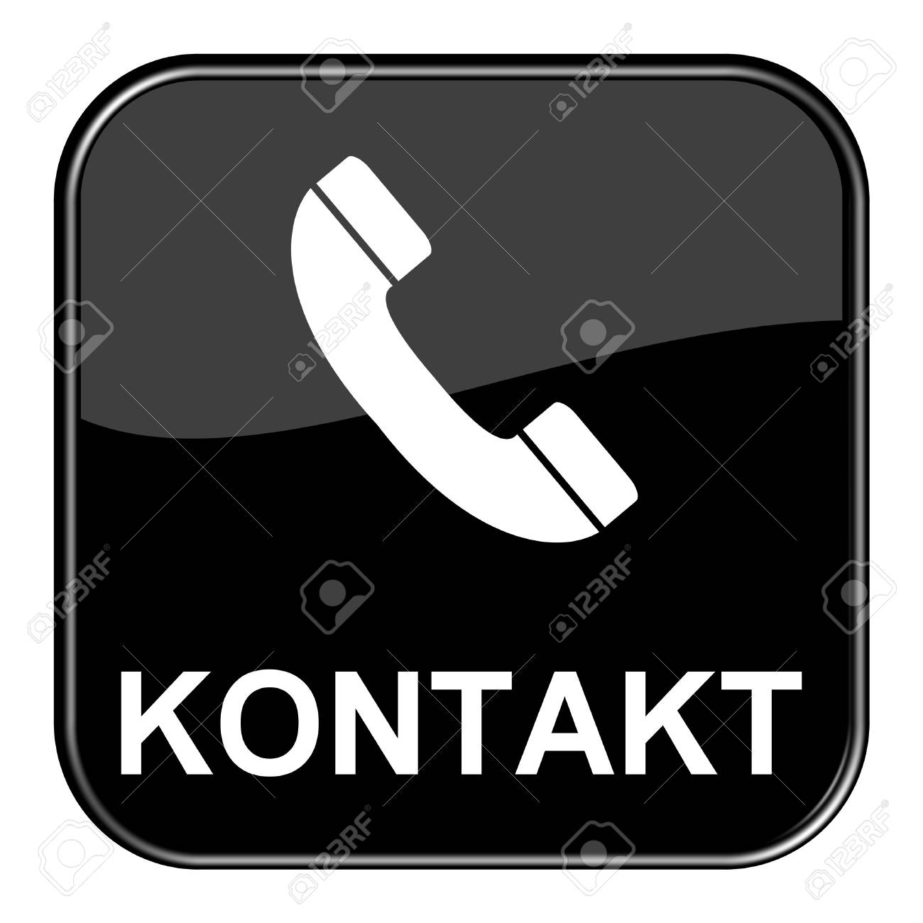 Glossy black button - contact Stock Photo - 13784309