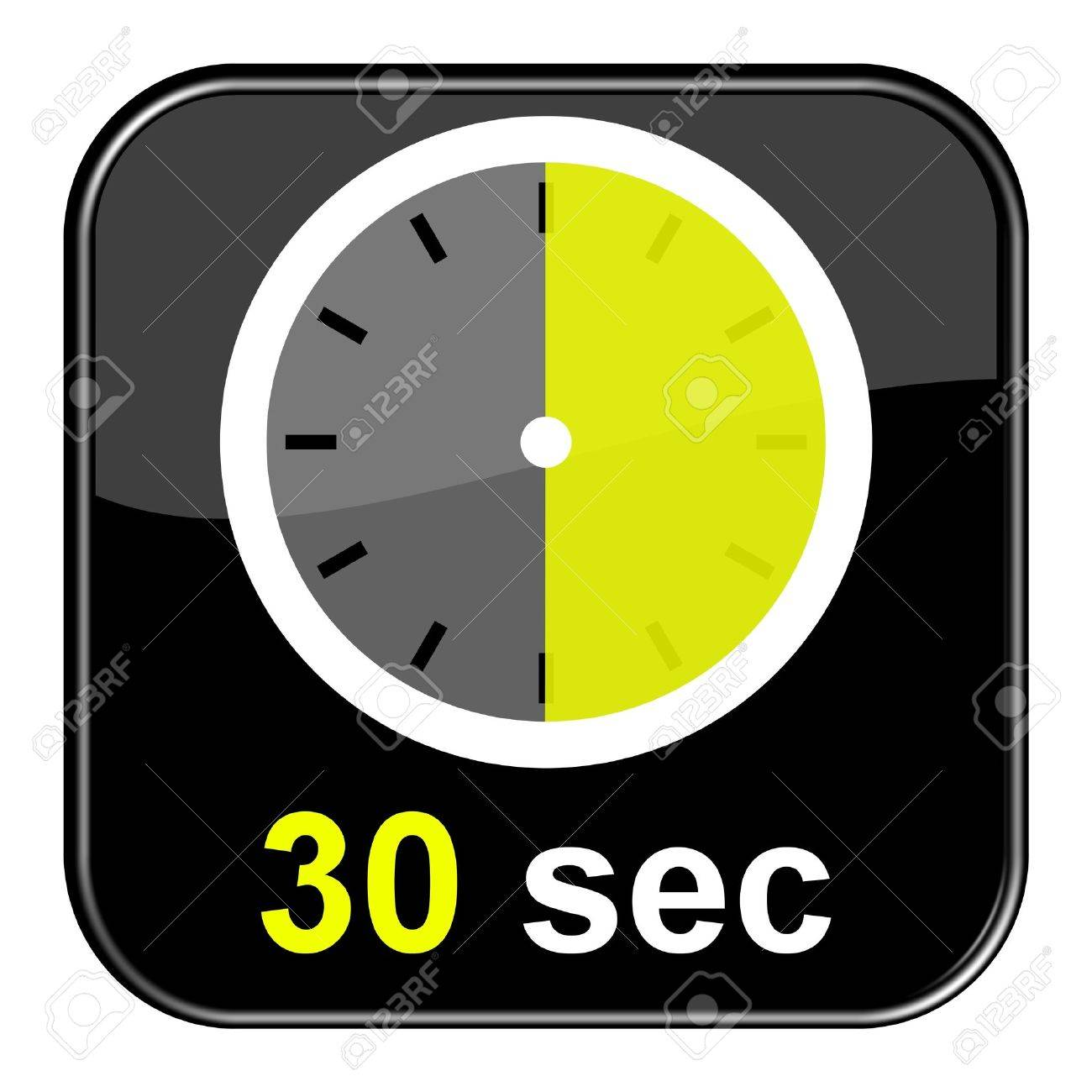 Glossy Button Black - Clock 30sec Stock Photo, Picture And Royalty ...