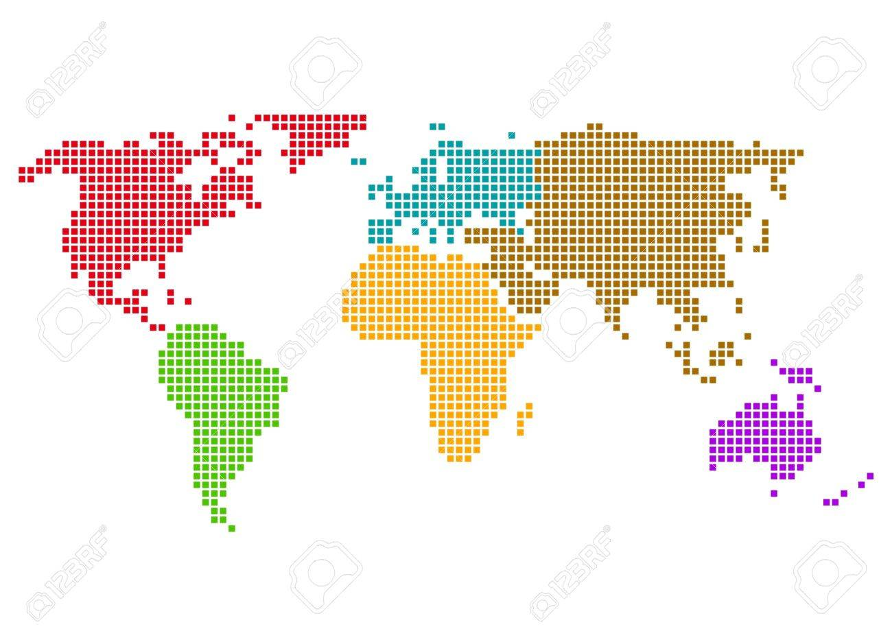 World Map With Colored Continents Of Pixels Stock Photo Picture And