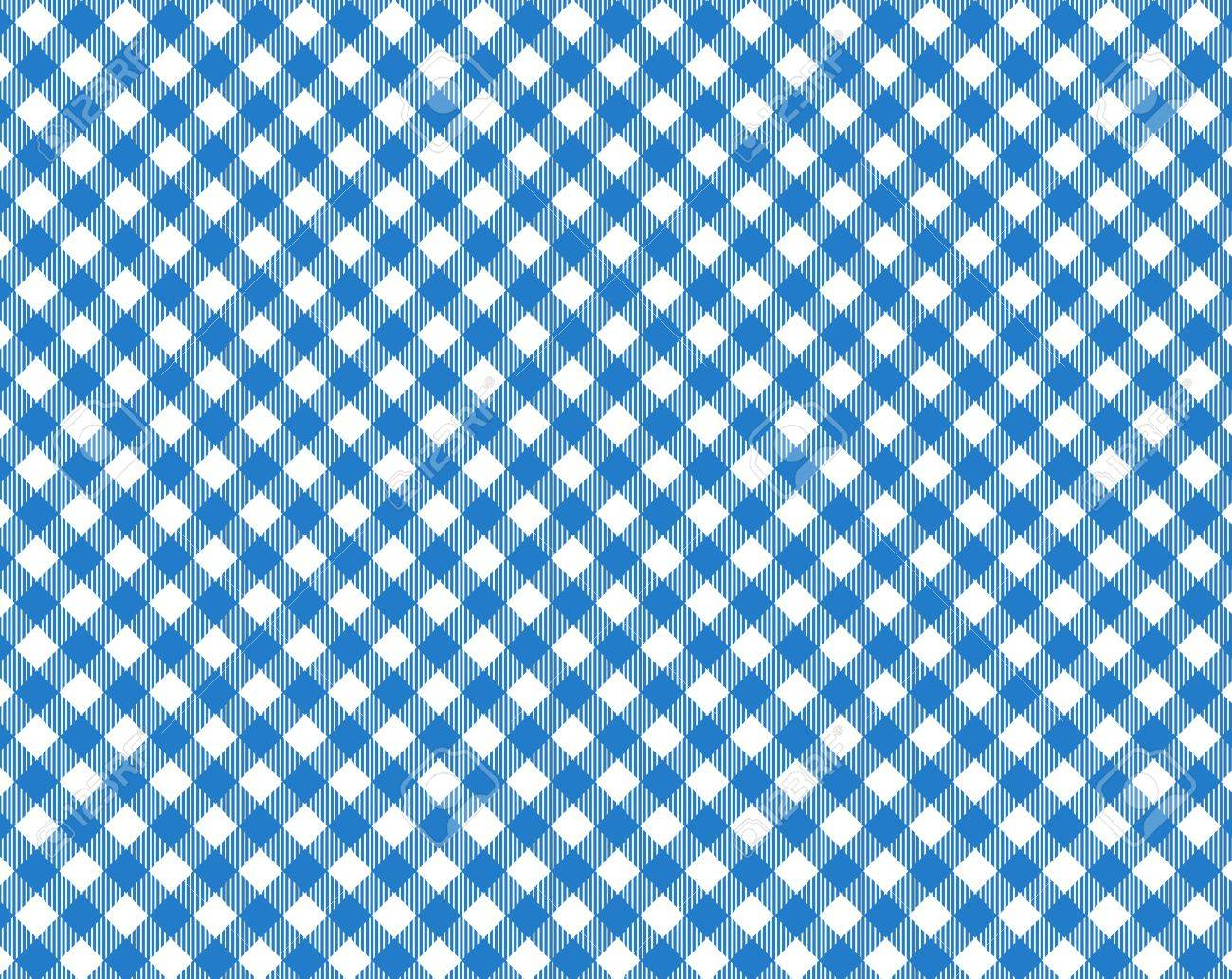 Blue White Checkered Tablecloth With Diagonal Stripes