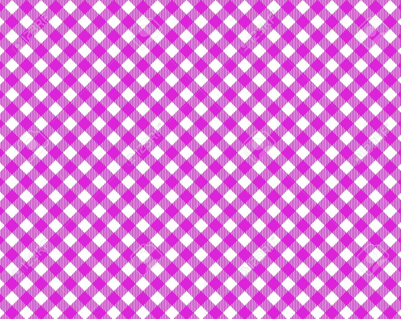 Pink White Checkered Tablecloth With Diagonal Stripes Stock Photo   17516437