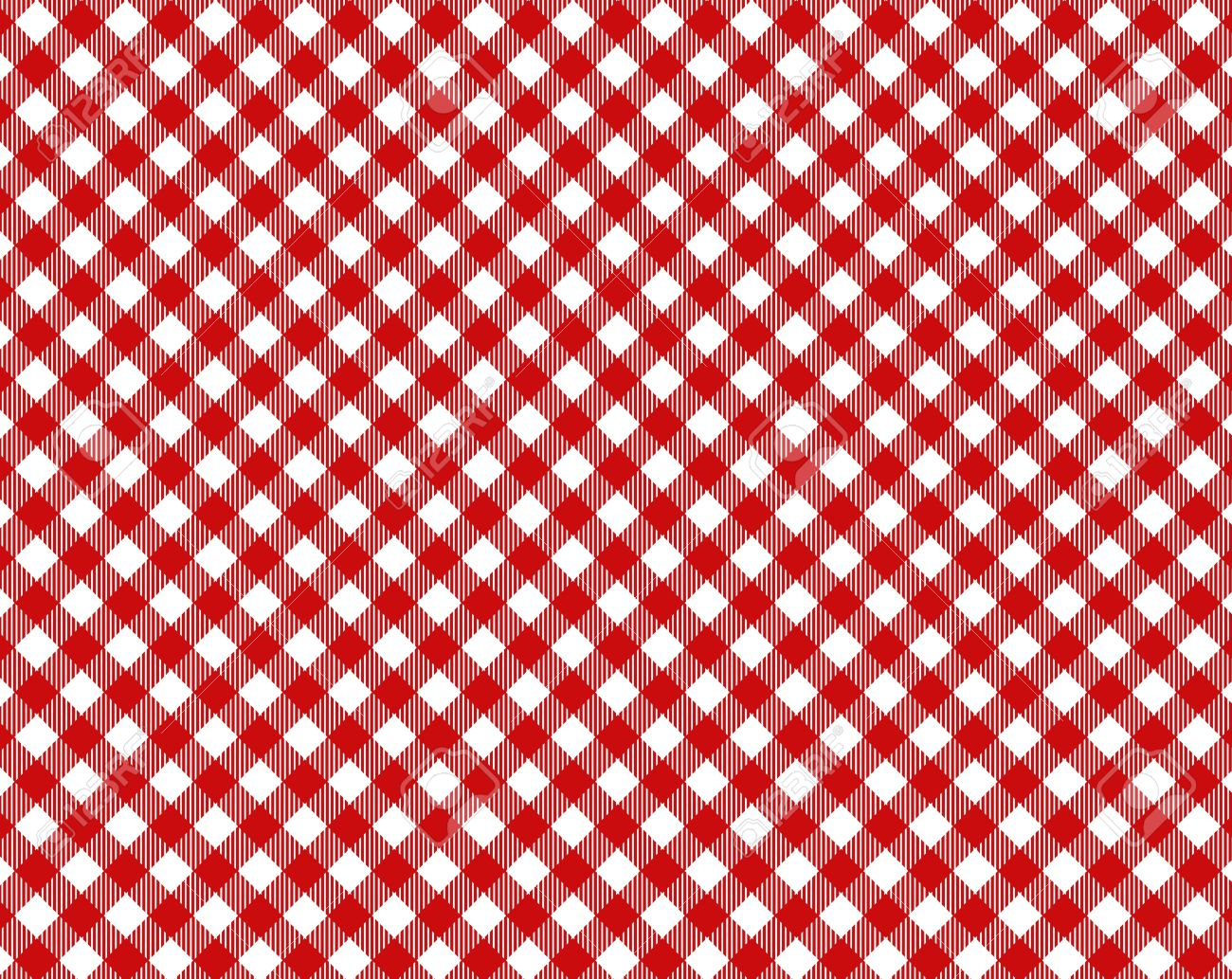 Red White Checkered Tablecloth With Diagonal Stripes Stock Photo   17445217