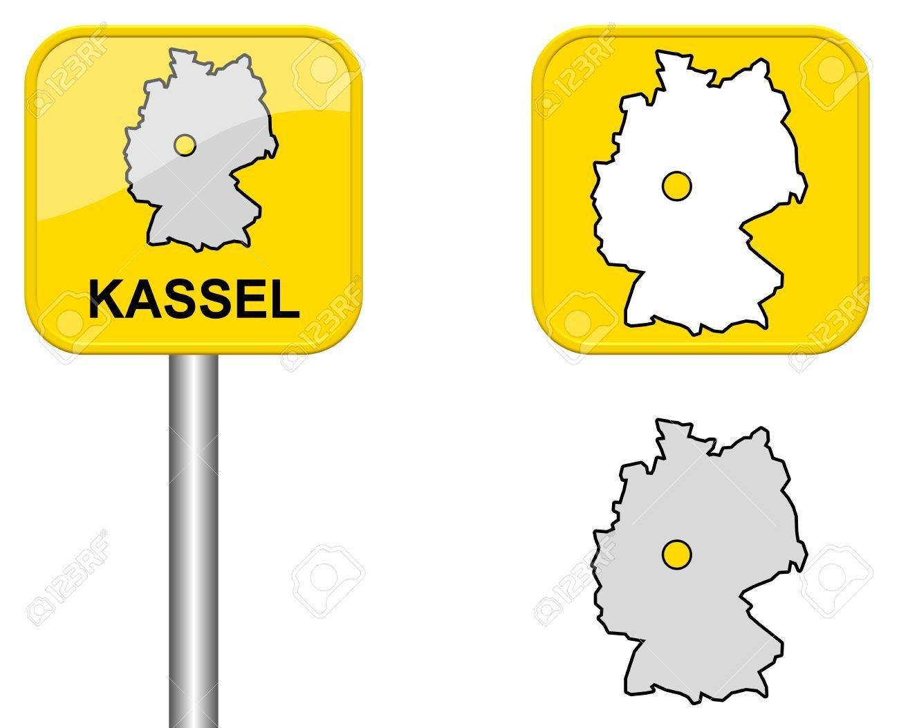Kassel Town Sign Button And Germany Map Stock Photo Picture - Germany map kassel
