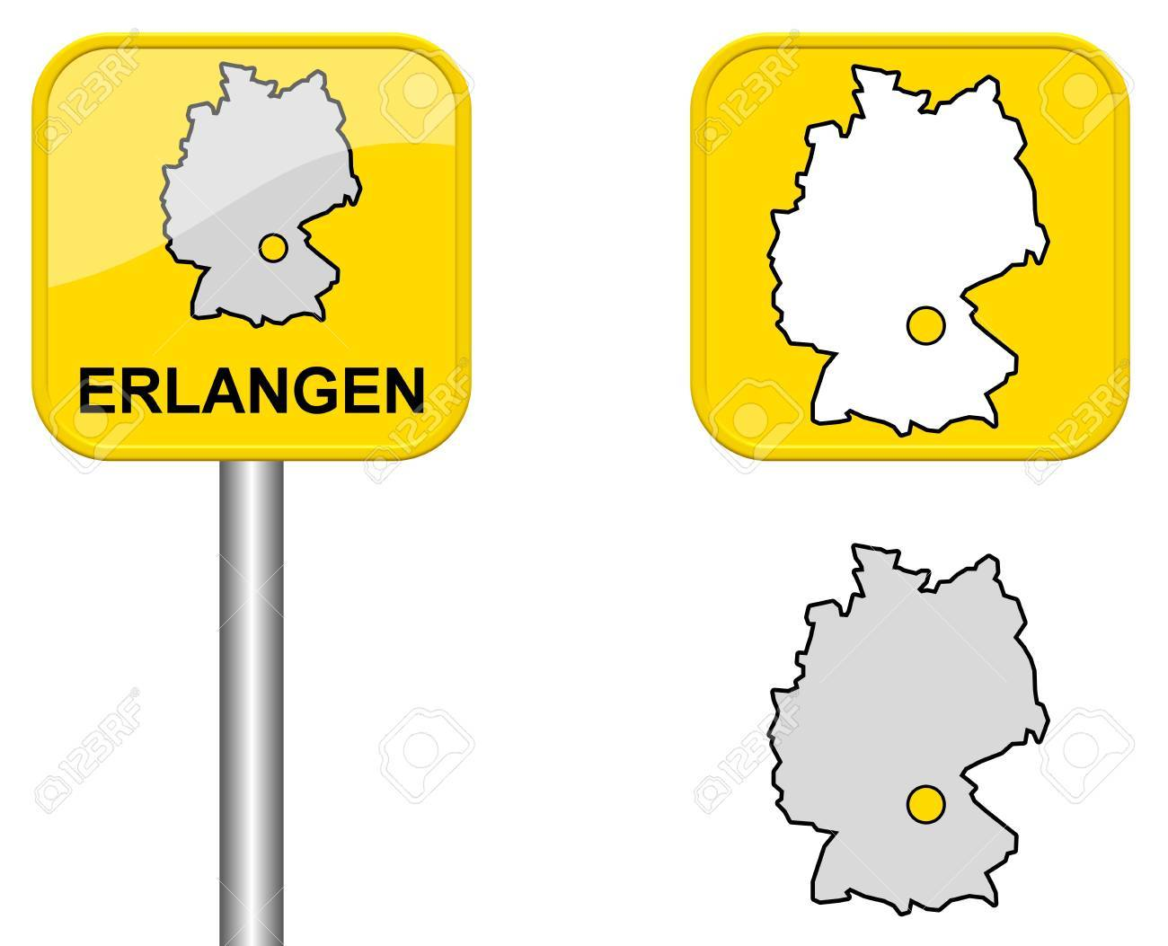 Erlangen Town Sign Button And Germany Map Stock Photo Picture - Germany map erlangen