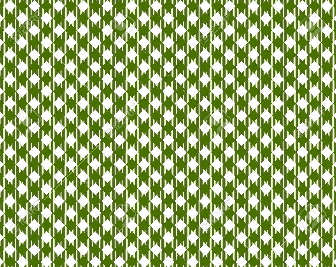 Checkered Tablecloth In Dark Green And White Stock Photo   20010108
