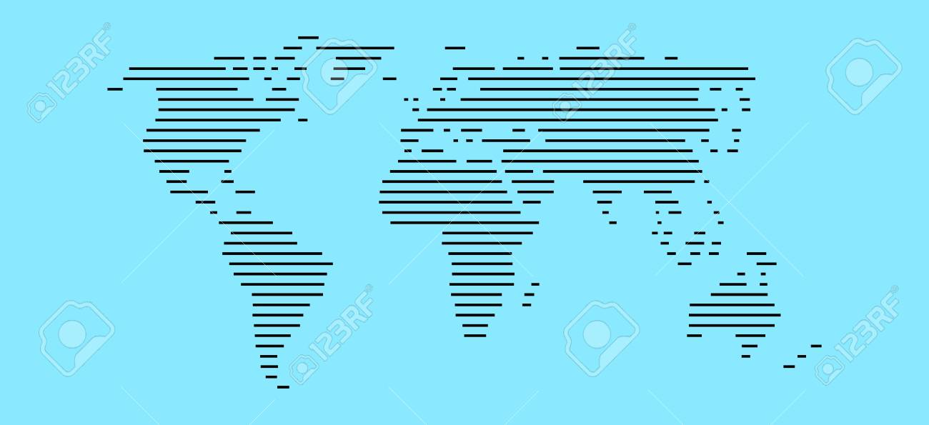 Simple world map made of black stripes on light blue background simple world map made of black stripes on light blue background stock photo 60920672 gumiabroncs Image collections