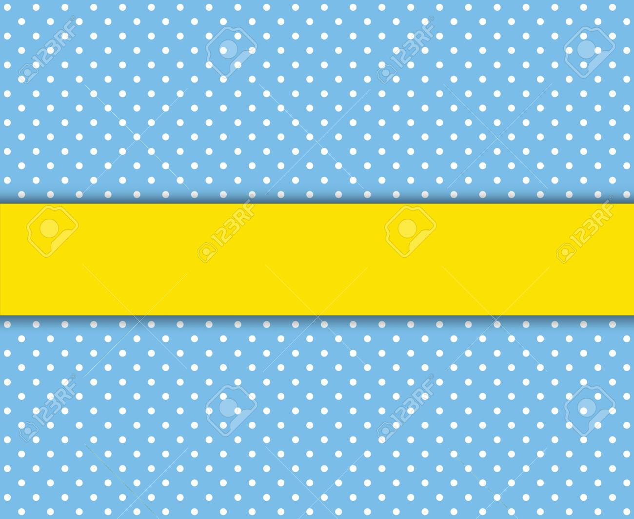 Light Blue Polka Dot Background With White Dots And Yellow Stripe