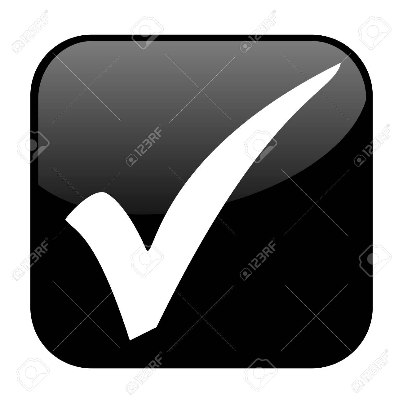 Shiny Isolated Black Button Tick Stock Photo Picture And Royalty