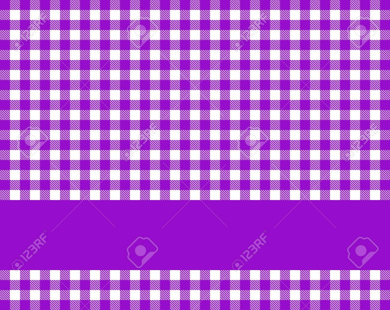 Purple Checkered Tablecloth Background With Violet Stripe For Text Stock  Photo   87784015