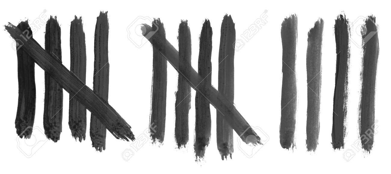 14 isolated hand painted tally marks on white background stock photo