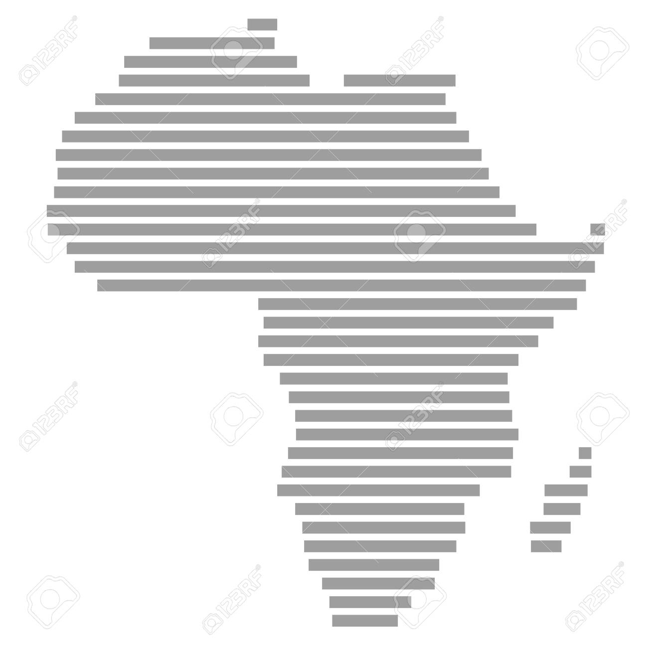 Modern isolated map of Africa with grey stripes