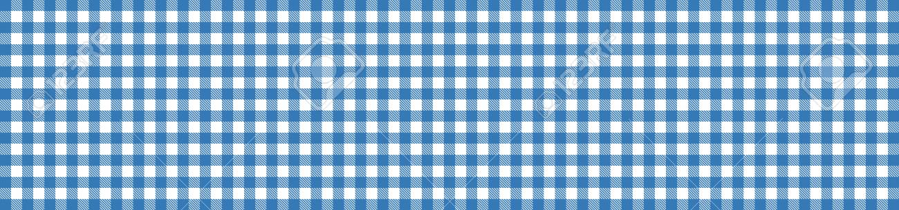 Stock Photo   Wide Blue And White Checkered Tablecloth Banner