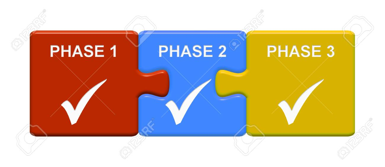 Three Puzzle Buttons With Tick Symbol Showing Phase 1 Phase 2