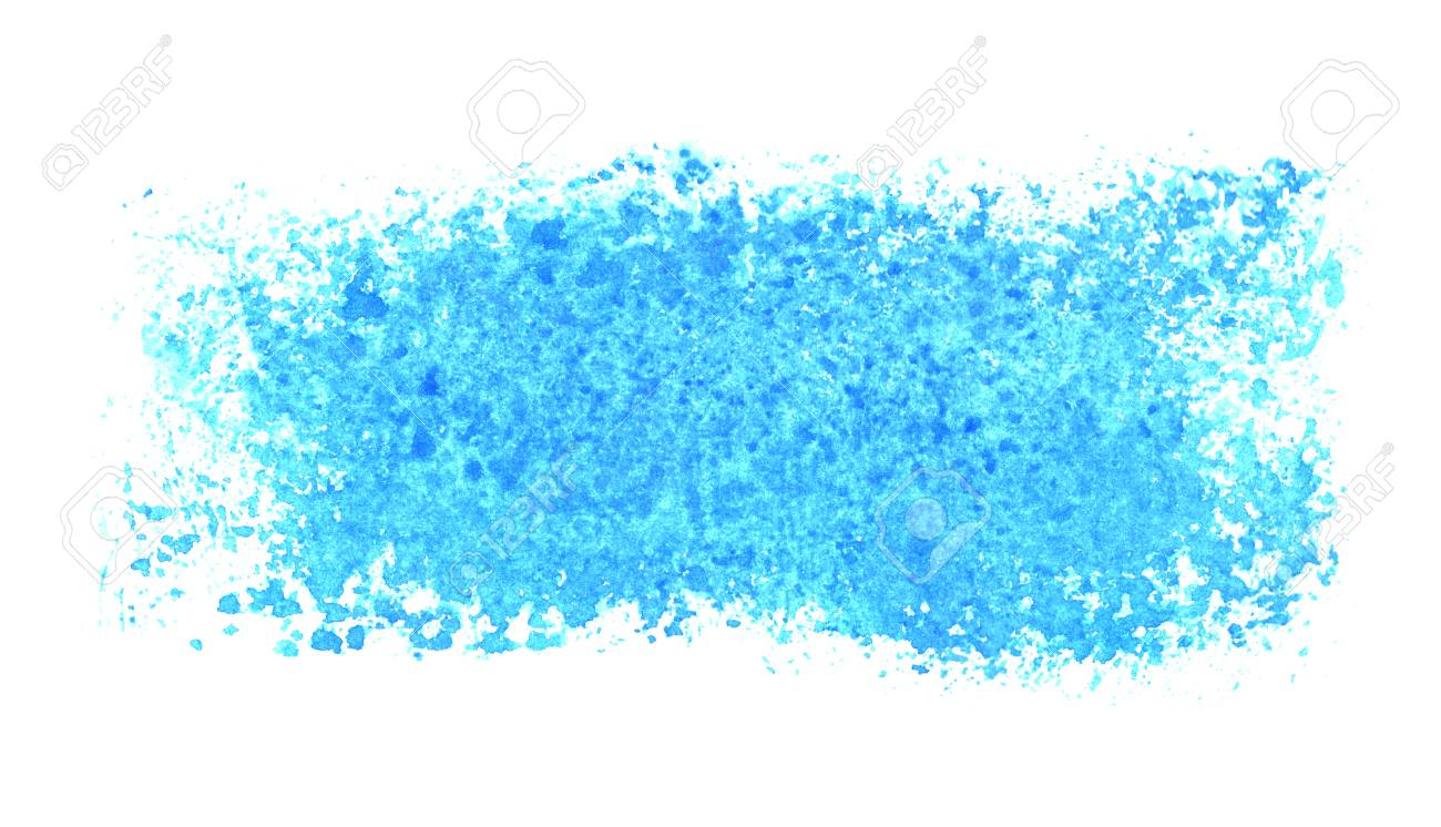 Dirty isolated blue watercolor stripe