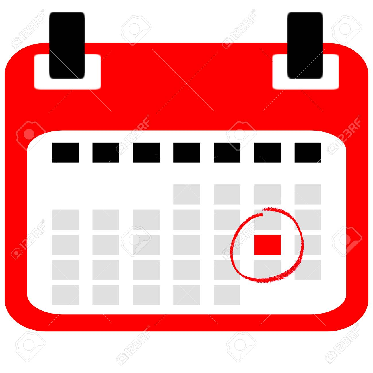 red isolated calender icon with save the date reminder stock photo