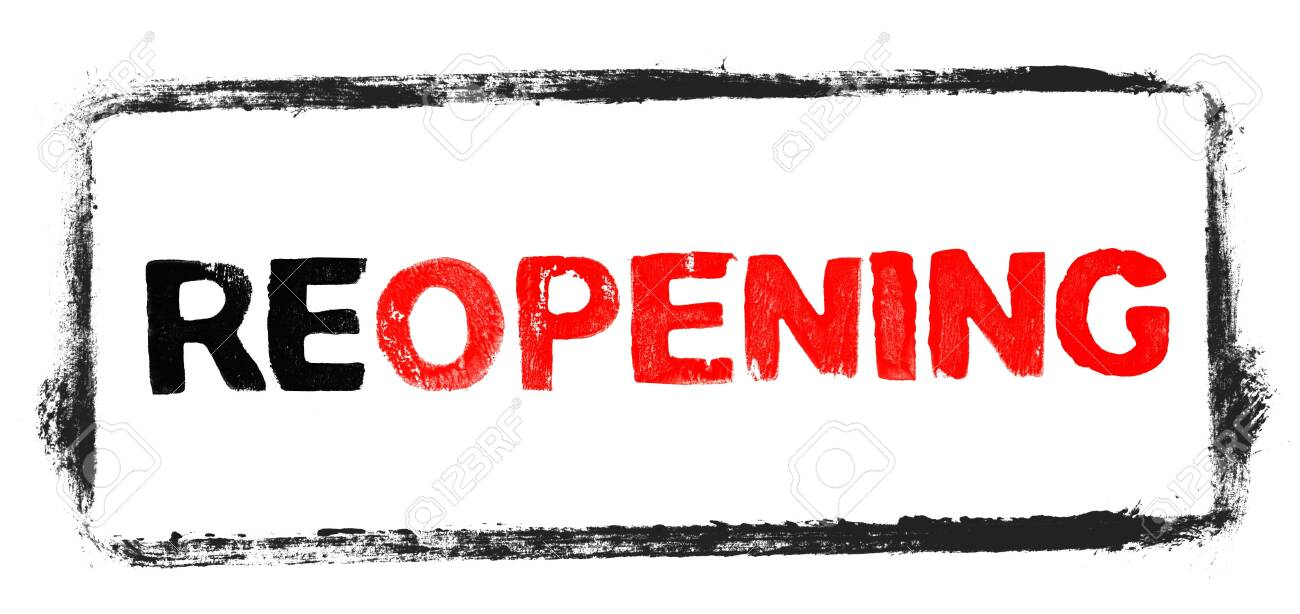 Stencil Text Banner red and black showing Reopening - 148448993